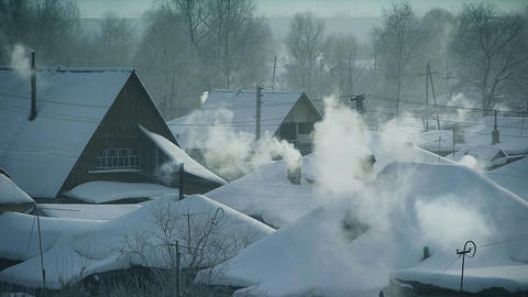 Winter village Stock Video Footage