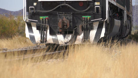 Close Up Train On Railroad Tracks stock footage