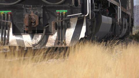 Close Up Train on Railroad Tracks Stock Video Footage