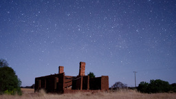 Star Time Lapse Over House Ruins Footage