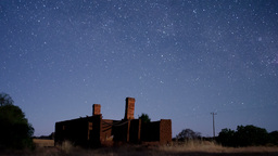 Star Time Lapse Over House Ruins Stock Video Footage