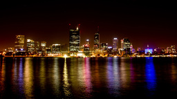Perth City Night Lights Time Lapse Stock Video Footage