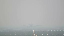 Landinig in the mist Stock Video Footage