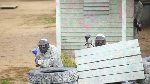 Paintball squad Stock Video Footage