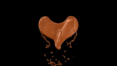 Heart hot chocolate shape splashes with slow motion. Alpha matte Animation
