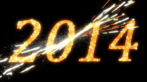 2014: Fireworks and Sparkling symbols of New Year. Alpha is included Animation