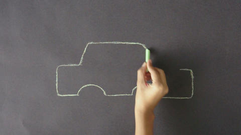 Electric Car Chalk Drawing Stock Video Footage