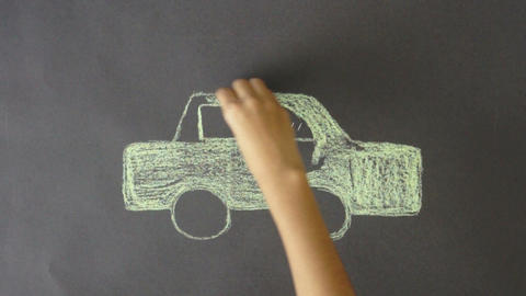 Electric Car Chalk Drawing Footage