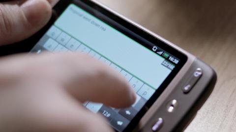 Smartphone virtual keyboard Stock Video Footage