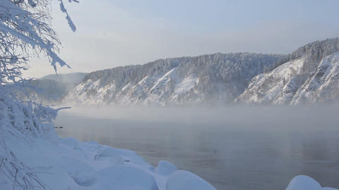 Yenisei River Winter Landscape 02 Footage