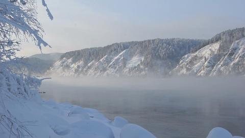 Yenisei River Winter Landscape 02 Stock Video Footage