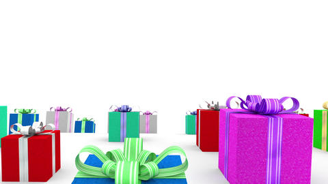 Loads Of Color Gift Boxes With Bows. Loop Animation stock footage
