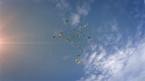 Dollars Falling From the Sky Stock Video Footage