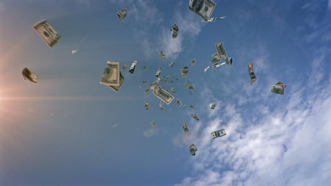 Dollars Falling From The Sky stock footage