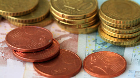 Euro Coins And Banknotes Stock Video Footage