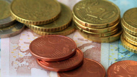 Euro Coins And Banknotes Footage