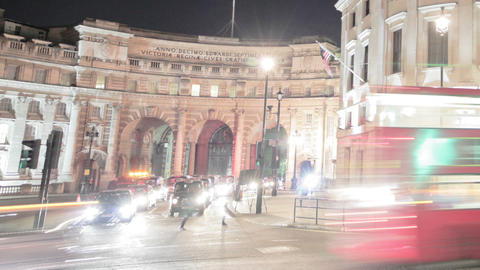 Time-lapse of traffic around Charing Cross in London. Cropped Footage