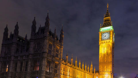 Time-lapse of Big Ben and Westminster in London. Cropped Footage