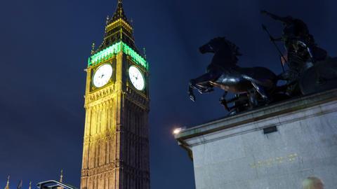 Panning time-lapse of Big Ben in London Footage