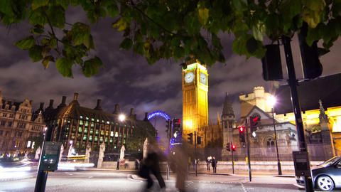 Panning time-lapse of Westminster and Big Ben in London Footage