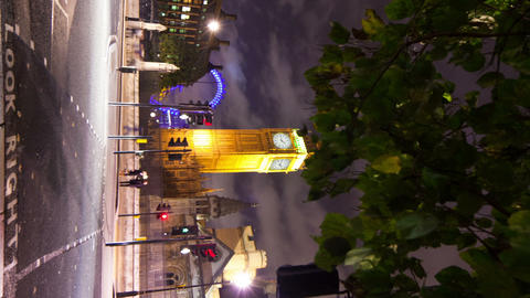 Vertical time-lapse of Westminster and Big Ben in London Footage