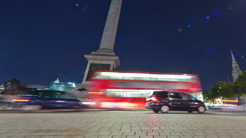 Panning shot of Tracking time-lapse of Nelson's Column in Trafalgar Square, Lond Footage