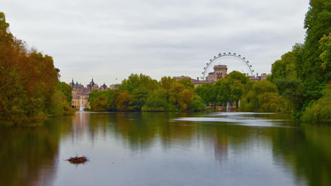 Saint James Park waterway time-lapse in London. Cropped Footage