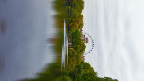 Vertical shot of Saint James Park waterway time-lapse in London Footage