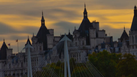 Time-lapse of The Victoria Embankment in London. Cropped Footage