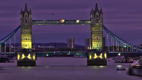 Panning shot of HDR time-lapse of the Tower Bridge in London Footage