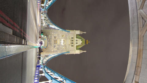 Vertical shot of The Tower Bridge time-lapse in London Footage