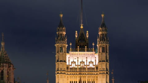 Time-lapse of the Victoria Tower at Westminster Palace in London. Cropped Footage