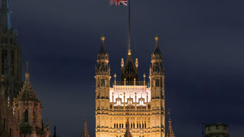 Panning time-lapse of the Victoria Tower at Westminster Palace in London Footage