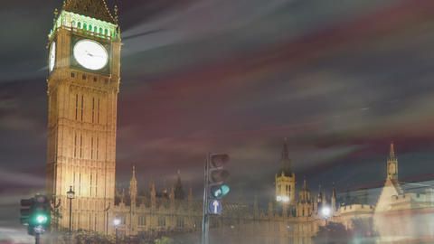 Big Ben and Westminster time-lapse in London. Cropped Footage