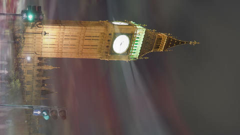 Vertical shot of Big Ben and Westminster time-lapse in London Footage