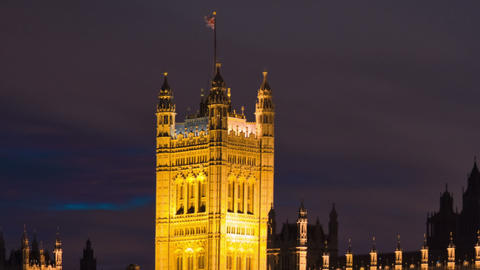 Panning time-lapse of Victoria Tower at Westminster Palace in London Footage