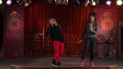 Two people dancing hip hop filmed in slow motion Footage