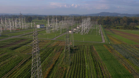 Aerial - Electrical substation in a countryside Footage