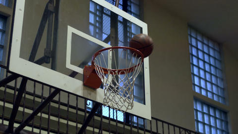 Close up of a completed basketball shot Footage