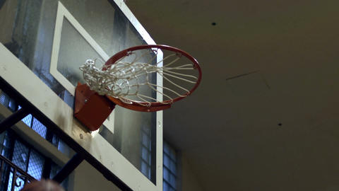 """Close up of a """"nothing but net"""" basketball shot Footage"""