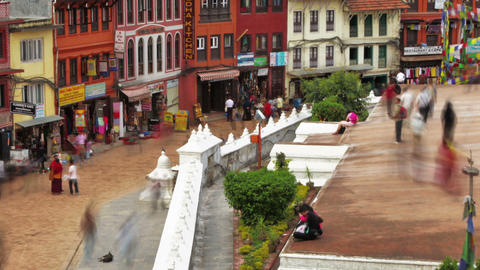 Time-lapse of people walking around the streets at Boudhanath Stupa in Kathmandu Footage