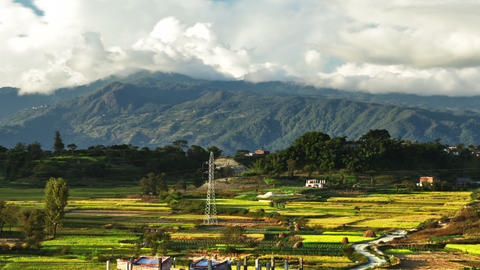 Panning shot of Time-lapse of the countryside of Nepal Footage