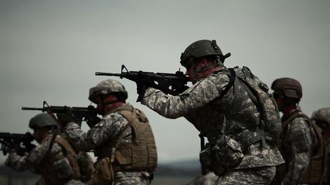 Green Berets doing drills at a shooting range Footage