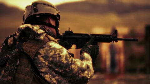 Sepia shot of soldier switching weapons Footage