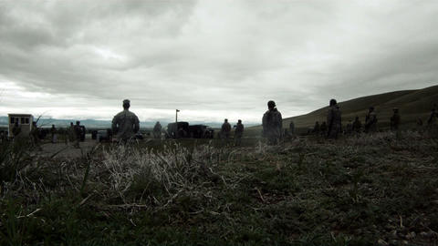 Wide shot of soldiers doing training drills Footage