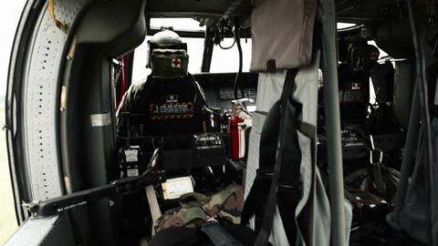 Black Hawk helicopter in flight Footage