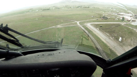 Black Hawk flying over training facility Footage