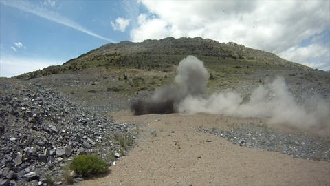 Concussive explosion at blasting area Footage