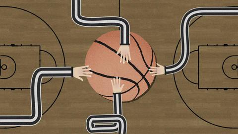 Long Hand Assembling a Basketball Cutout Retro Style Footage