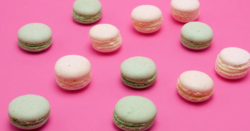 Delicious and sweet macaroons in different colors Footage